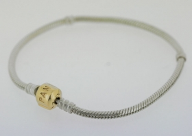 Pandora Grundarmband Silber mit Klemmschließe 585 Gold