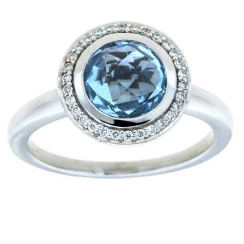 Ring, 585 Weißgold mit Blautopas und Diamanten