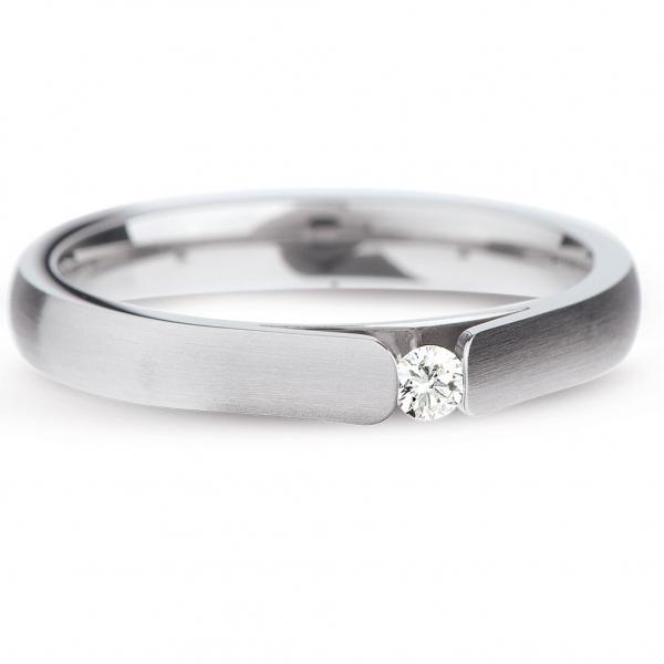 Solitärring 0,06ct Diamant, Edelstahl von Ernstes Design