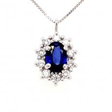 Diamantanhänger mit Saphir