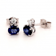 Diamantohrstecker mit Saphir