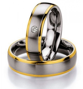 Partnerringe, Edelstahl mit 585 Gold