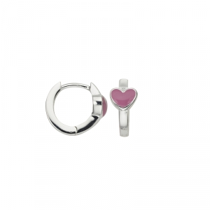 Kindercreolen Silber mit Herzmotiv rosa