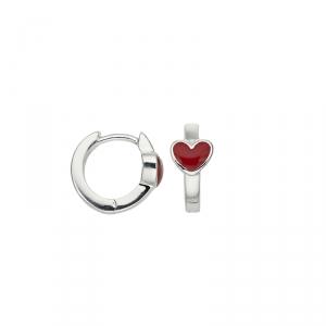 Kindercreolen Silber mit Herzmotiv rot