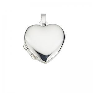 Anhänger Medaillon Herzform in 925 Silber, rhodiniert