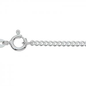 Collierkette Flachpanzer Silber rhodiniert, 2,4mm stark