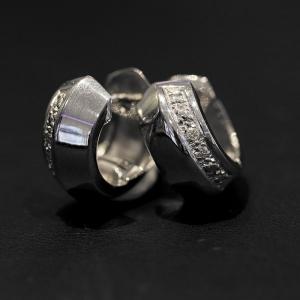 Creolen, 585 Weißgold mit Diamanten
