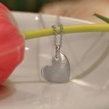 Herzanhänger Silber mit Zirkonia, für Gravur