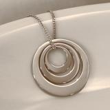 Kette mit Anhänger Silber, 3fach Ring für Gravuren