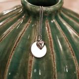 Kette mit Anhänger Silber, runde Gravurplatte mit Herz